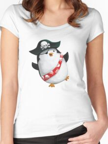 Cute Pirate Penguin Women's Fitted Scoop T-Shirt
