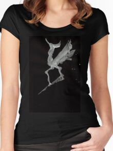 0027 - Brush and Ink - Call of the Morning Rooster Women's Fitted Scoop T-Shirt