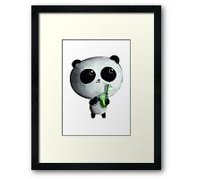 Cute Panda with Bamboo Drink Framed Print