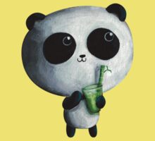 Cute Panda with Bamboo Drink One Piece - Short Sleeve