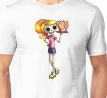 Skeleton Pin Up Girl Waitress Unisex T-Shirt