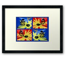 Glasswing on Red Yellow and Blue Framed Print