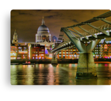 St Paul`s Catherderal and Millennium Footbridge - Night - HDR Canvas Print