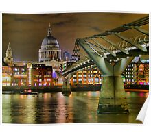 St Paul`s Catherderal and Millennium Footbridge - Night - HDR Poster