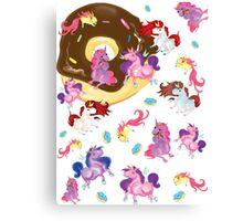 Fat unicorns and Donuts Canvas Print