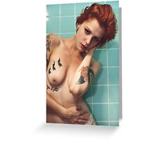 Vintage Bath - love calm perfect sexy girl nude erotic vintage blue color nature awesome Greeting Card