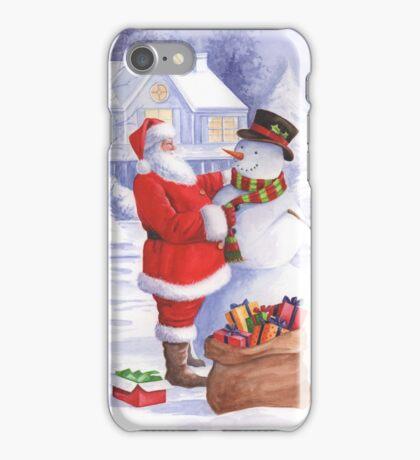 Santa giving snowman his Christmas gift iPhone Case/Skin