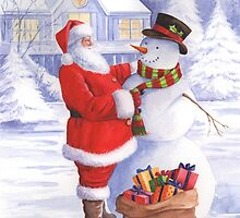 Santa giving snowman his Christmas gift by lizblackdowding