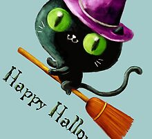 Cute Witch Cat on Broom by colonelle