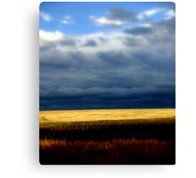 A stormy day over golden wheat Fields Canvas Print