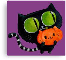 Cute Black Halloween Cat Canvas Print