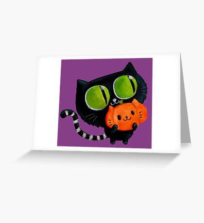 Cute Black Halloween Cat Greeting Card