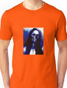 """Blue Day of the Dead """"Under the Moon"""" Skeleton Woman by Artist VCalderon Unisex T-Shirt"""