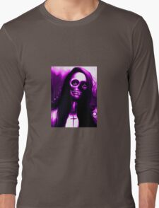 """Purple Day of the Dead Skeleton Woman """"Under the Moon"""" by Artist VCalderon Long Sleeve T-Shirt"""