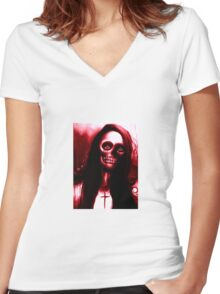 """Red Day of the Dead Skeleton Woman """"Under the Moon"""" by Artist VCalderon Women's Fitted V-Neck T-Shirt"""