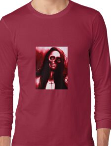 """Red Day of the Dead Skeleton Woman """"Under the Moon"""" by Artist VCalderon Long Sleeve T-Shirt"""