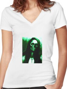 """Green Day of the Dead Skeleton Woman """"Under the Moon"""" by Artist VCalderon Women's Fitted V-Neck T-Shirt"""