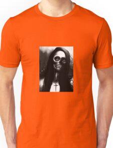 "Black and White Skeleton Woman ""Under the Moon"" by Artist VCalderon Unisex T-Shirt"