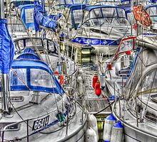 partial boats in harbour by suecrossley