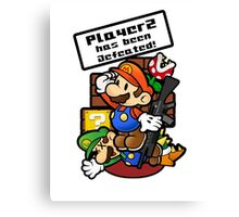 Mario Brothers: Player 2 has been defeated Canvas Print