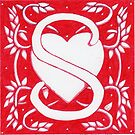Red Heart Letter S by Donna Huntriss