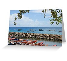 Fishermen Boats & Sea Wall - Martinique, F.W.I. Greeting Card