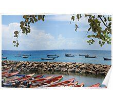 Fishermen Boats & Sea Wall - Martinique, F.W.I. Poster