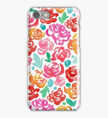 Peony & Roses on White iPhone Case/Skin