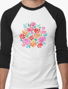 Peony & Roses on White Men's Baseball ¾ T-Shirt