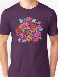 Peony & Roses on White Unisex T-Shirt