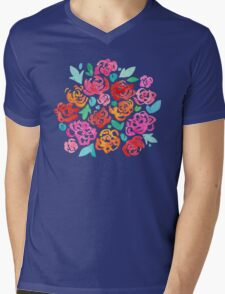 Peony & Roses on White Mens V-Neck T-Shirt