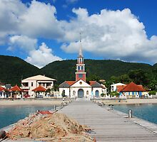 Church of Anse d'Arlet from the Quay - Martinique, F.W.I. by Olivia Son