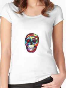 """Trippy """"Stained Glass Skull"""" Art by VCalderon  Women's Fitted Scoop T-Shirt"""