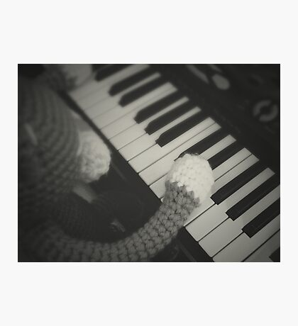 cat playing piano Photographic Print