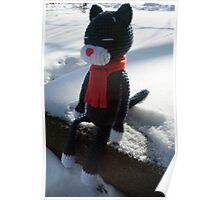 cat in the snow Poster