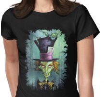 Dark Mad Hatter Womens Fitted T-Shirt