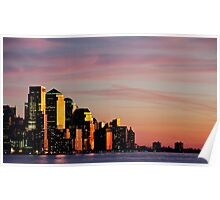 Downtown Sunset over New York City, NYC Poster