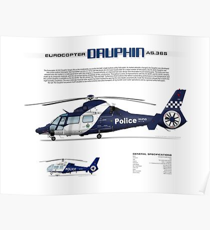 Eurocopter AS.365N3 Dauphin Helicopter - Victoria Police Air Wing Poster