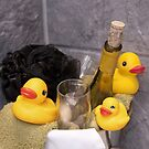 """""""Bubbles and Suds"""" - rubber duckies in champagne bucket by ArtThatSmiles"""