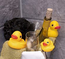 """Bubbles and Suds"" - rubber duckies in champagne bucket by John Hartung"