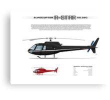 Eurocopter AS.350 A-Star Helicopter (Squirrel, Ecureuil) Canvas Print