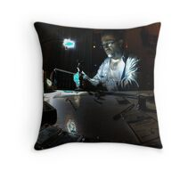 Mad scientist hard at work Throw Pillow