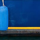 Part of Blue Boat with Yellow Stripe and Light Blue Buffer by Gerda Grice