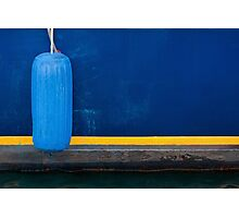 Part of Blue Boat with Yellow Stripe and Light Blue Buffer Photographic Print