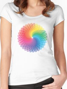 Colour Wheel Flower Women's Fitted Scoop T-Shirt