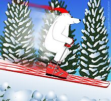 Skiing Polar Bear in Santa Hat by SeaSerpent