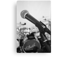 Microphone and Drums B&W Canvas Print
