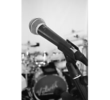 Microphone and Drums B&W Photographic Print