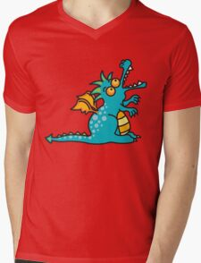 Teal Magic Dragon Mens V-Neck T-Shirt