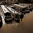 Canal Barges at Rest  by destinysagent